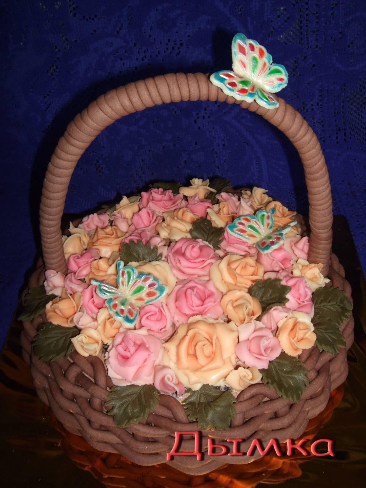 Фото тортов из мастики корзина с цветами